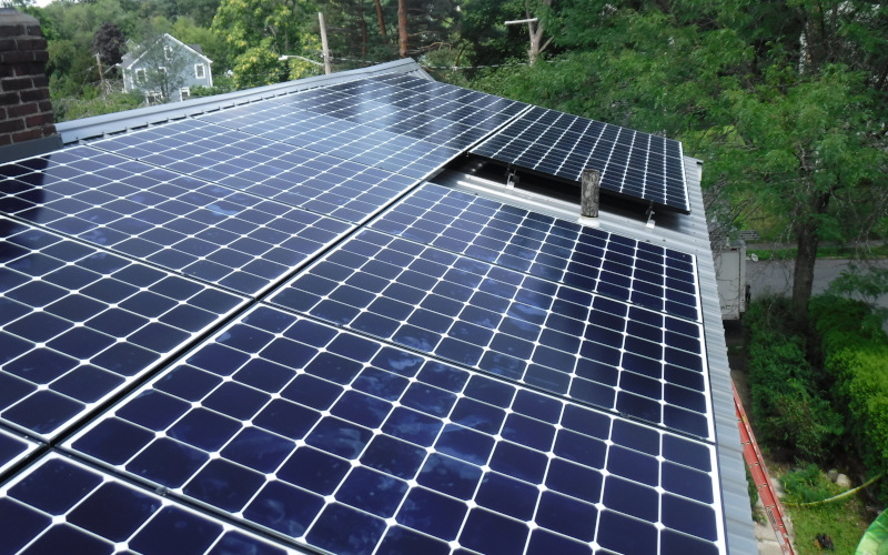 solar panels on metal roof
